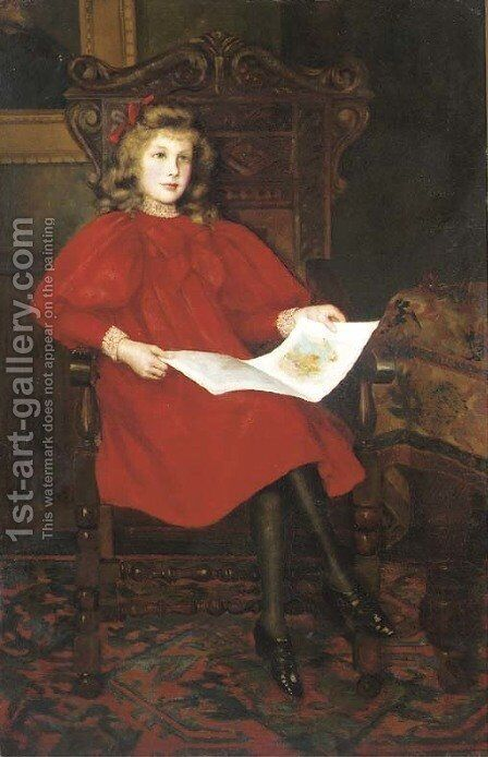 'In Wonderland', Portrait of Margery Merrick, seated full-length, in a red dress, reading a book, in an interior by Emily M. Merrick - Reproduction Oil Painting