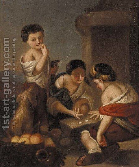 Children playing dice by Munich School - Reproduction Oil Painting