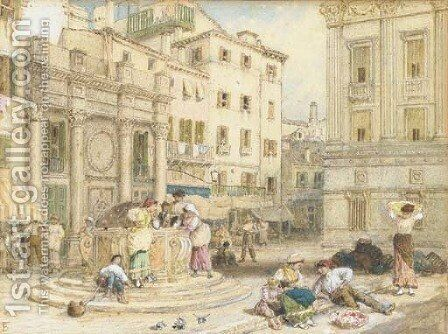 A corner of the Piazza di San Marco showing part of the Cardinals' Palace, Venice by Myles Birket Foster - Reproduction Oil Painting