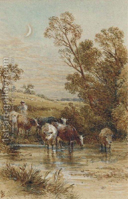 A drover and cattle crossing a ford under a crescent moon by Myles Birket Foster - Reproduction Oil Painting