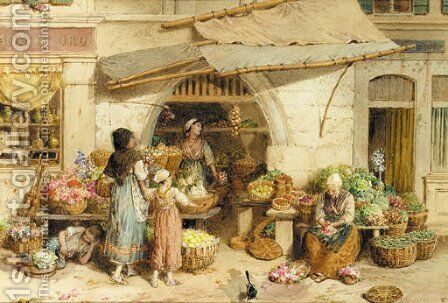 A fruit shop, Rialto market, Venice by Myles Birket Foster - Reproduction Oil Painting