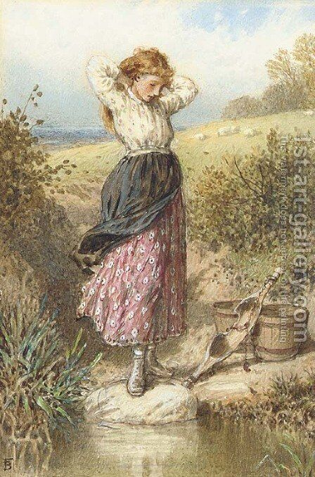 A milkmaid resting by a stream by Myles Birket Foster - Reproduction Oil Painting