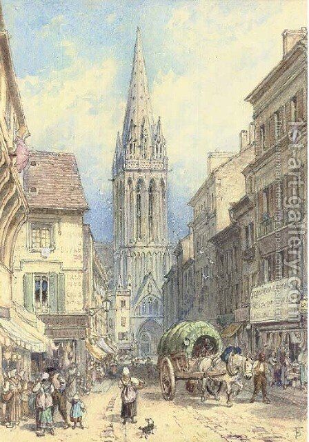 A street scene in Northern France by Myles Birket Foster - Reproduction Oil Painting