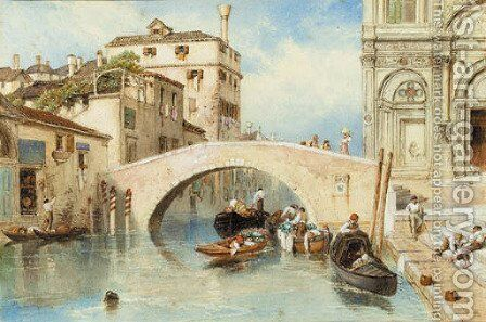 Canale dell'Ospitale and the Scuola di San Marco, Venice by Myles Birket Foster - Reproduction Oil Painting
