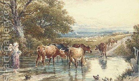 Cattle fording a stream by Myles Birket Foster - Reproduction Oil Painting