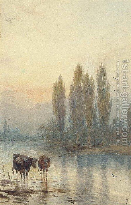 Cattle watering, evening by Myles Birket Foster - Reproduction Oil Painting