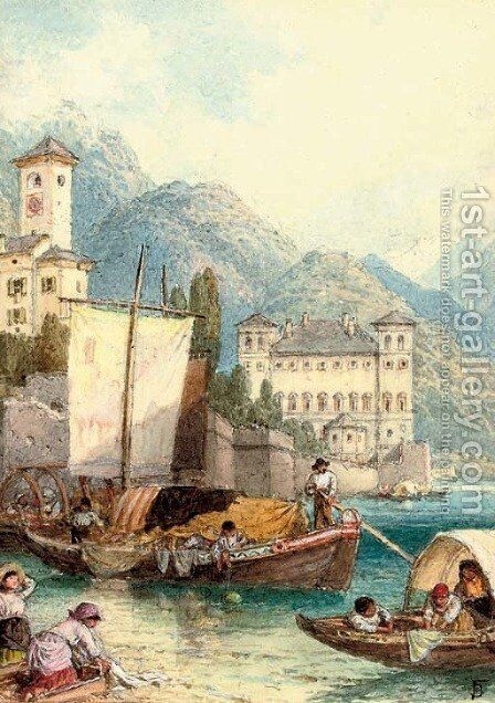 Children picking up a mooring on Lake Como by Myles Birket Foster - Reproduction Oil Painting