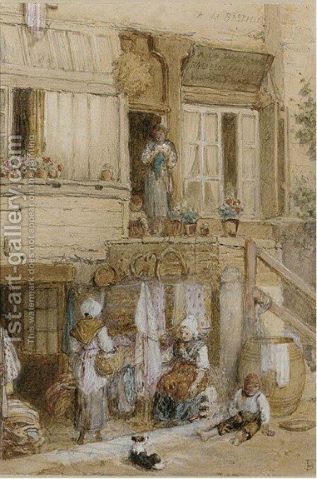Figures outside a house, France by Myles Birket Foster - Reproduction Oil Painting