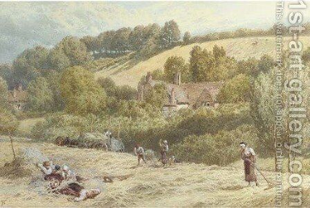 Haymaking near Haslemere, Surrey by Myles Birket Foster - Reproduction Oil Painting