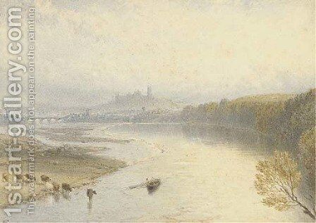 Lancaster from the River Lune by Myles Birket Foster - Reproduction Oil Painting