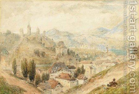 Lucerne from the walls by Myles Birket Foster - Reproduction Oil Painting