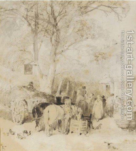 Outside the village inn by Myles Birket Foster - Reproduction Oil Painting