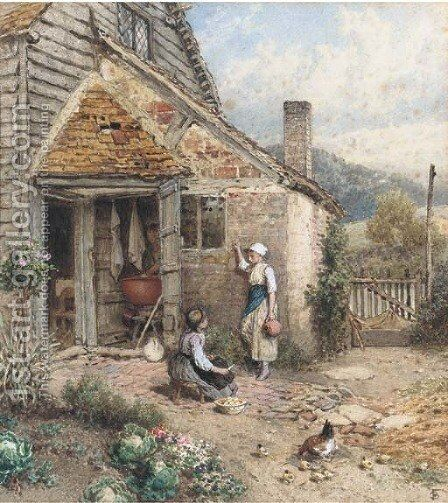 Peeling potatoes by Myles Birket Foster - Reproduction Oil Painting