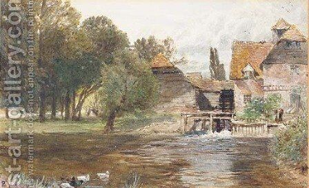 Study of a figure beside a watermill, with ducks in the foreground by Myles Birket Foster - Reproduction Oil Painting
