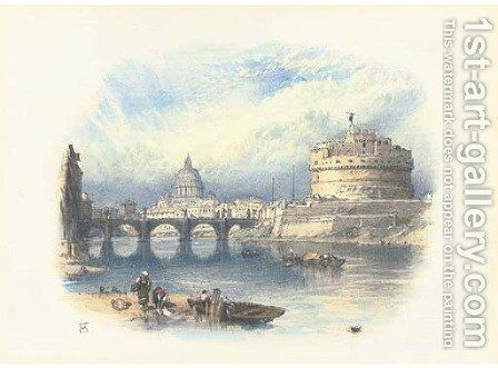 The tower of St Angelo with St Peter's beyond, Rome, Italy by Myles Birket Foster - Reproduction Oil Painting