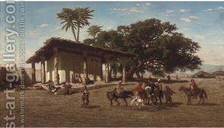 Arab riders setting off by Narcisse Berchere - Reproduction Oil Painting