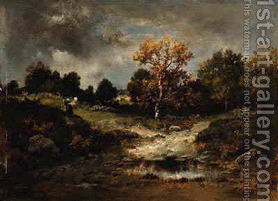 A Clearing in a Wooded Landscape by Narcisse-Virgile Díaz de la Peña - Reproduction Oil Painting