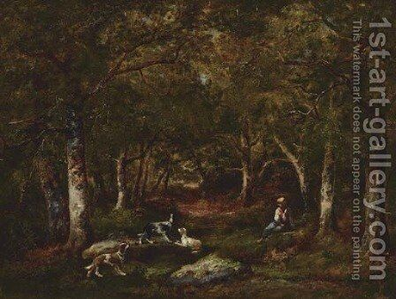 Enfant et chiens de chasse en foret by Narcisse-Virgile Díaz de la Peña - Reproduction Oil Painting