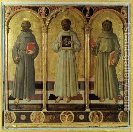 Three Franciscan Saints c. 1470 by Domenico Di Michelino - Reproduction Oil Painting