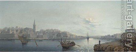 Valetta Harbour, Malta by Natale Gavagnin - Reproduction Oil Painting
