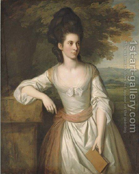 Portrait of Mrs. Vere, three-quarter-length, in a white dress with a pink sash, holding a book in her left hand, with a landscape beyond by Sir Nathaniel Dance-Holland - Reproduction Oil Painting