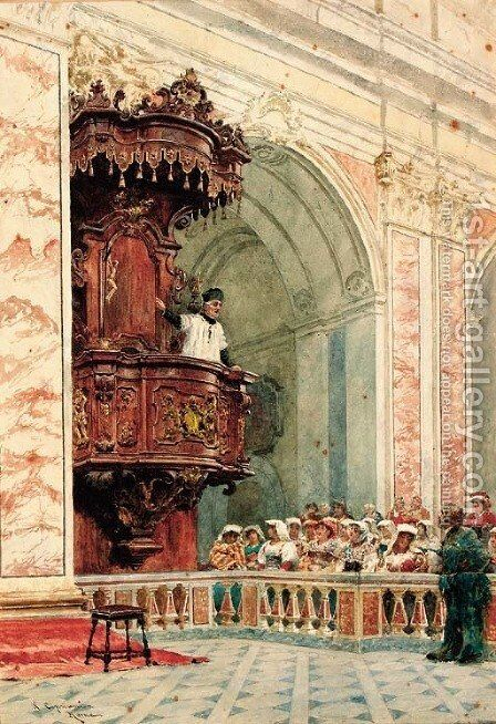 The Sermon by Nazzareno Cipriani - Reproduction Oil Painting