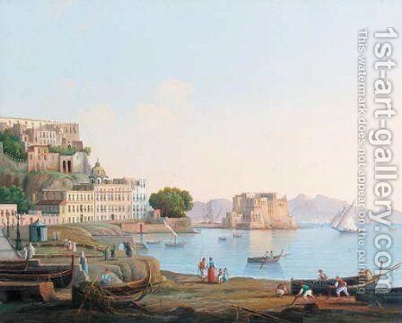 A veduta of Naples by Neapolitan School - Reproduction Oil Painting