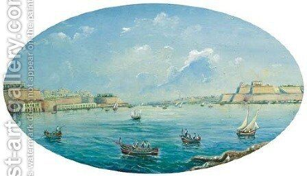 Entrance to the harbour at Valetta, Malta by Neapolitan School - Reproduction Oil Painting