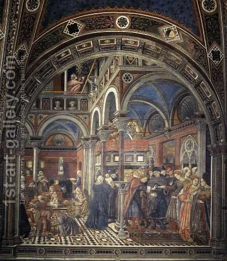 The Rearing And Marriage Of Female Foundlings 1441-42 by Domenico Di Bartolo - Reproduction Oil Painting