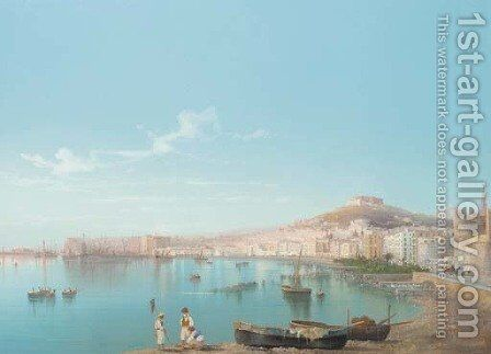 Fishermen in the bay of Naples by Neapolitan School - Reproduction Oil Painting