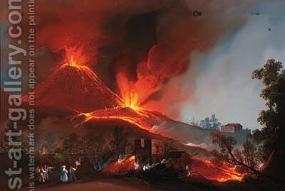 Vesuvius erupting by night by Neapolitan School - Reproduction Oil Painting