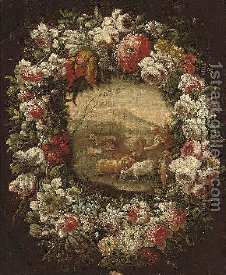 A shepherd and shepherdess with their flock, in a floral cartouche by Neapolitan School - Reproduction Oil Painting