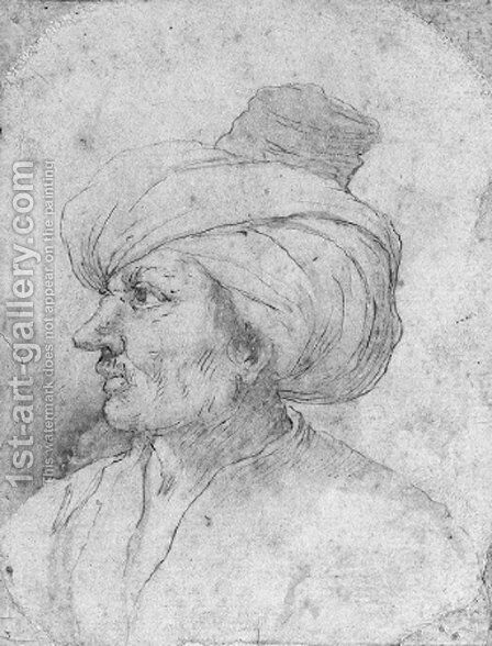 Head of a man in a turban in profile to the left by Neapolitan School - Reproduction Oil Painting