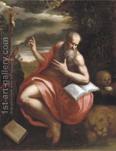 The Penitent Saint Jerome by Neapolitan School - Reproduction Oil Painting