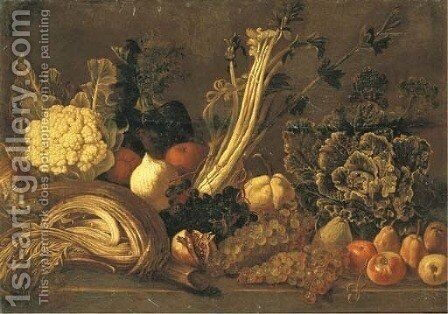 Vegetables by Neapolitan School - Reproduction Oil Painting