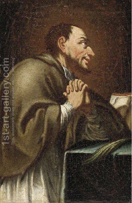 Saint Charles Borromeo; and a Franciscan Saint by Neapolitan School - Reproduction Oil Painting