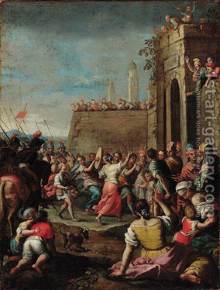 The Triumph of David by Neapolitan School - Reproduction Oil Painting