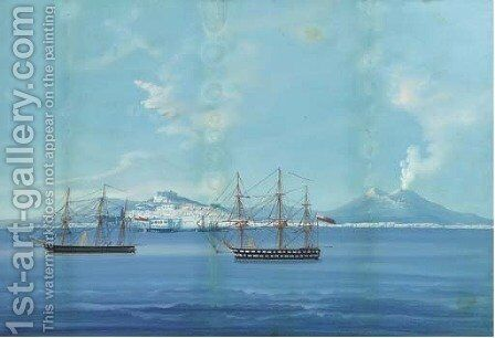 English warships anchored in the Bay of Naples by Neapolitan School - Reproduction Oil Painting