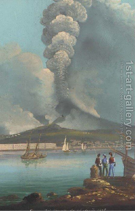 The eruption of Mount Vesuvius, 1872 by Neapolitan School - Reproduction Oil Painting