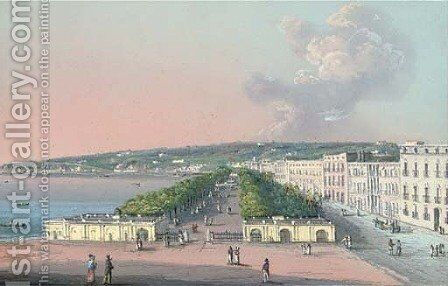 Villa Reale, Naples by Neapolitan School - Reproduction Oil Painting
