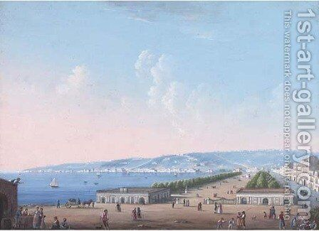 On the promenade, Naples by Neapolitan School - Reproduction Oil Painting