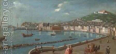 On the promenade, Naples; and Another similar by Neapolitan School - Reproduction Oil Painting