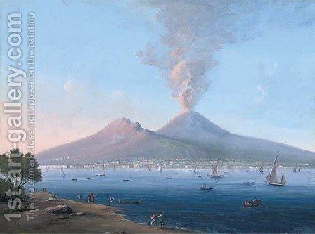 Figures on the Neapolitan coast before an active Vesuvius (illustrated) by Neapolitan School - Reproduction Oil Painting