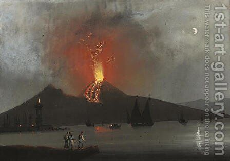 Vesuvius erupting by Neapolitan School - Reproduction Oil Painting
