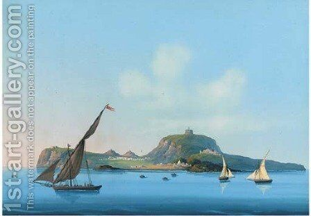 Xebecs before an island off the Italian coast by Neapolitan School - Reproduction Oil Painting
