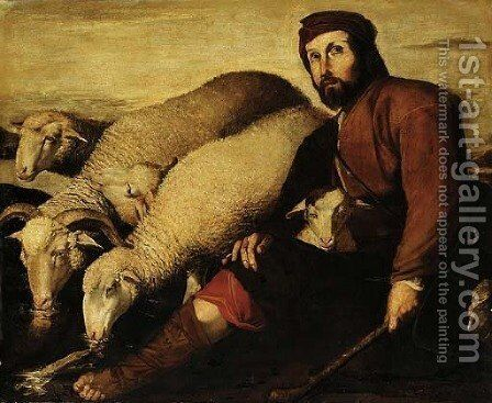Jacob with the flock of Laban by Neapolitan School - Reproduction Oil Painting