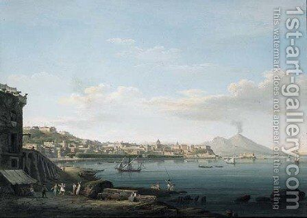 A view of the Bay of Naples from Pozzuoli, with Vesuvius beyond by Neapolitan School - Reproduction Oil Painting
