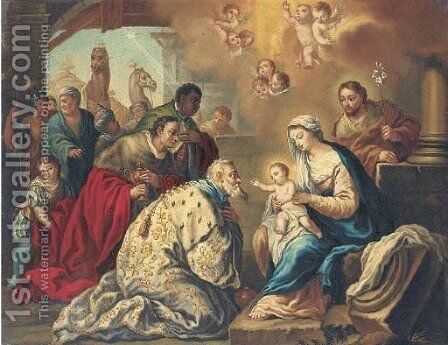 The Adoration of the Magi by Neapolitan School - Reproduction Oil Painting