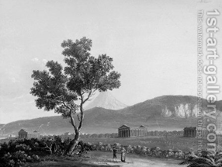 A view of the three temples at Paestum; and A view of Naples looking towards Posillipo by Neapolitan School - Reproduction Oil Painting