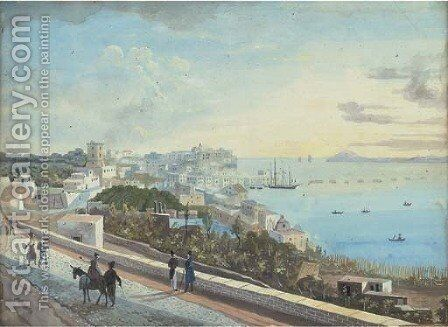 View over the Bay of Naples by Neapolitan School - Reproduction Oil Painting